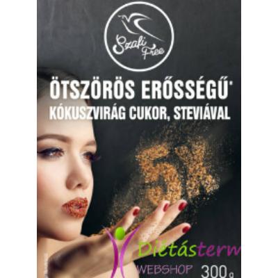 SZAFI FREE ÖTSZÖRÖS ERŐSSÉGŰ KÓKUSZVIRÁG CUKOR, STEVIÁVAL 300G