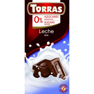 TORRAS HOZZÁADOTT CUKORMENTES TEJCSOKOLÁDÉ 75 G